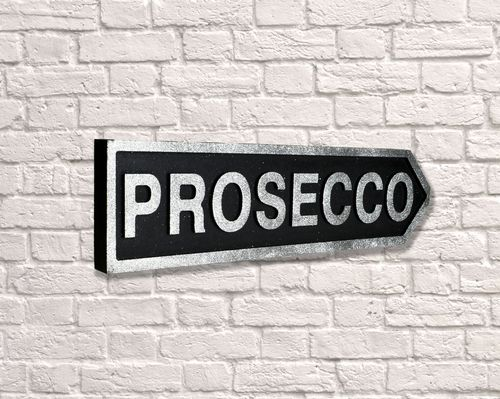 Prosecco Arrow Black Glitter